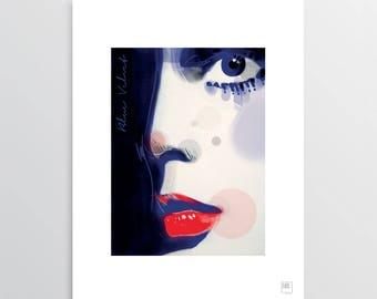 Blue Velvet - Digital Illustration, Isabella Rossellini tribute, illustration for digital printing, gift idea, decor home, decor office