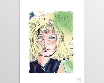 Monica - Digital Illustration, Monica Vitti tribute, illustration for digital printing, gift idea, decor home, decor office