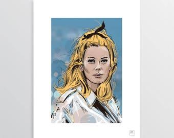 Belle de Jour - Digital Illustration, Catherine Deneuve tribute, illustration for digital printing, gift idea, decor home, decor office