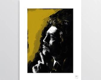 Mon Noir - Digital Illustration, Javier Bardem tribute, illustration for digital printing, portrait, gift idea, decor home, decor office