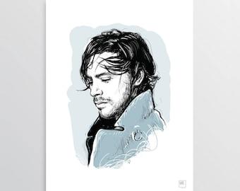 Jack, the gentleman - Digital Illustration, Jack Savoretti tribute, illustration for digital printing, gift idea, decor home, decor office