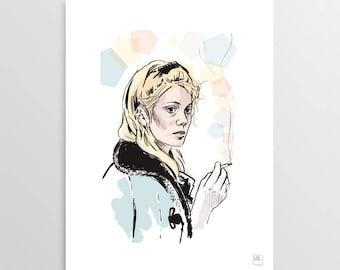 The wait - Digital Illustration, Catherine Deneuve tribute, illustration for digital printing, gift idea, decor home, decor office