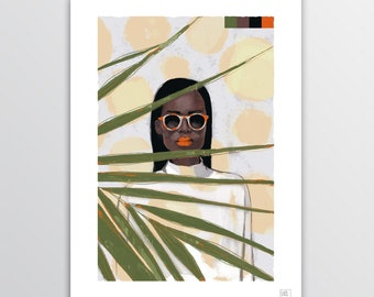 Green Girl - Digital Illustration, illustration for digital printing, portrait, gift idea, decor home, decor office
