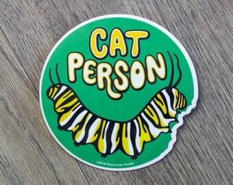 Monarch Caterpillar Sticker | Cat Person | Insect Vinyl Sticker | Save the Monarchs | Nature Sticker | Laptop Sticker | Water Bottle Sticker