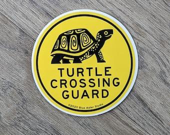 Turtle Crossing Guard Vinyl Sticker | Box Turtle Sticker | Laptop Sticker | Water Bottle Sticker