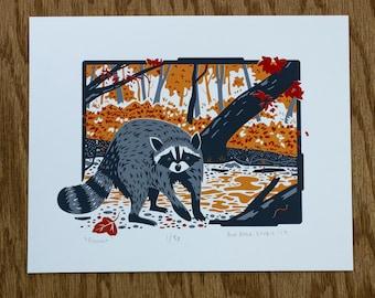 Raccoon Screen Print | 8x10 Raccoon Print | Wildlife Print | Original Illustration | Backyard Wildlife | Cute Raccoon