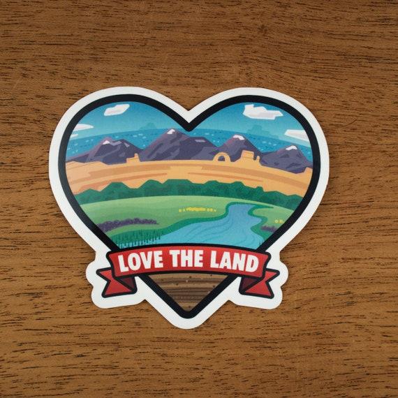 Love The Land   Heart Sticker   Vinyl Sticker   Environmental Sticker