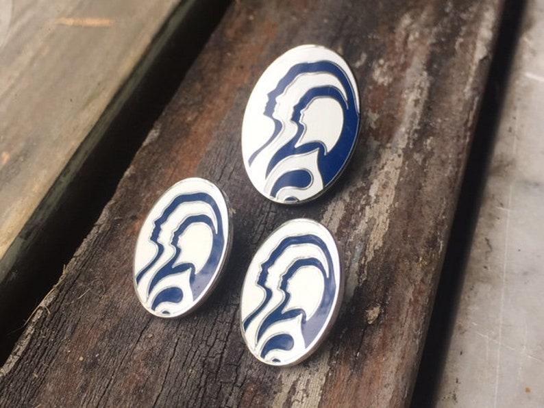 Vintage Enamel Woman Profile Modern Silhouette Brooch Pin Pierced Earrings Silver Tone Jewelry Set  White Blue Mod Funky Psychedelic Art