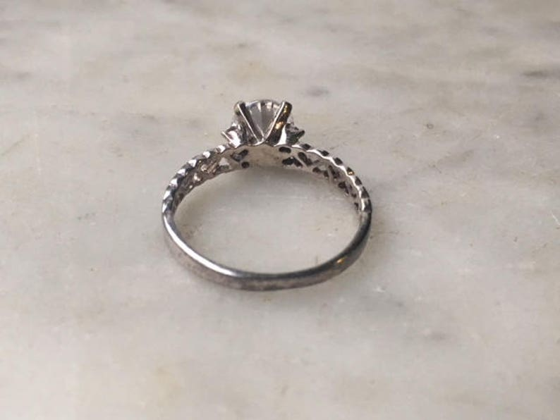 Vintage Sterling Silver 925 Crystal Clear Cubic Zirconia Accent Heart Filigree Ring Size 8  Sweetheart Anniversary Gift Simple Love Jewelry