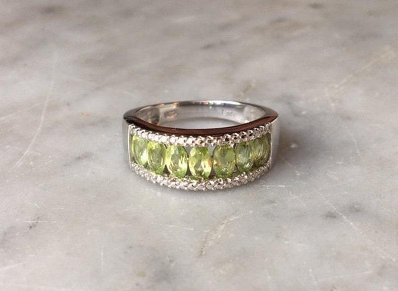 Vintage Sterling Silver 925 Green Peridot Gemstone Ring Size 8 Anniversary Band  Multi-stone Gem Stone Designer Jewelry August Birthstone
