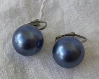 Metallic Blue Marble Clip On Earrings