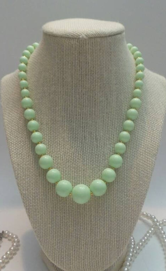 Beautiful Christmas Angel beaded necklace in mint green white and gold