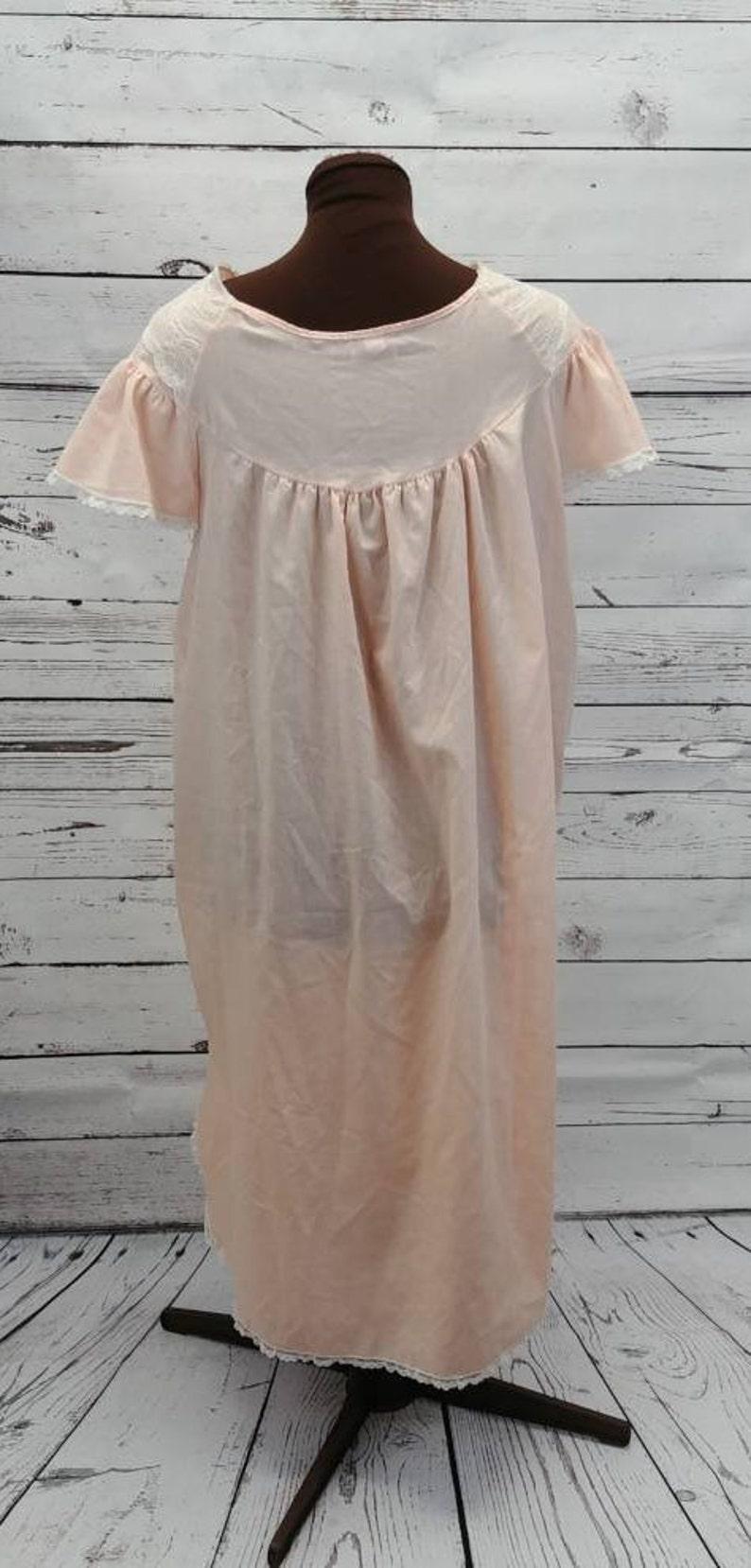 b97546f925 Nancy King Peach Cotton Lace Nightgown