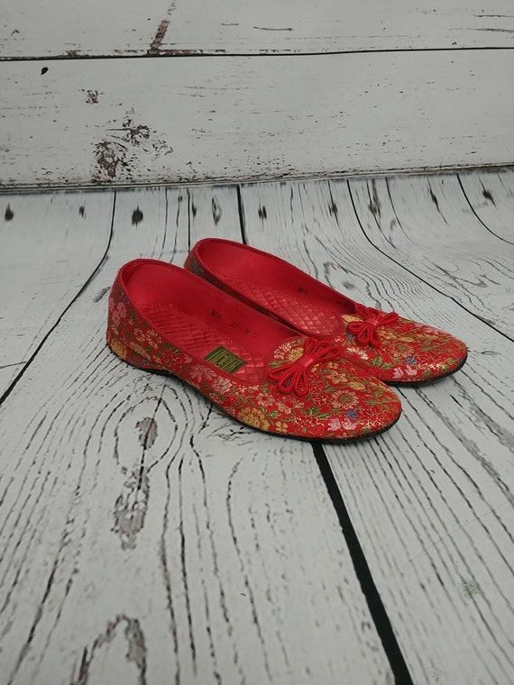 Daniel Green Red Floral Gold Metallic Slippers, Vi
