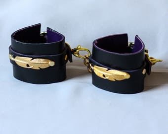 Leather Handcuffs Black