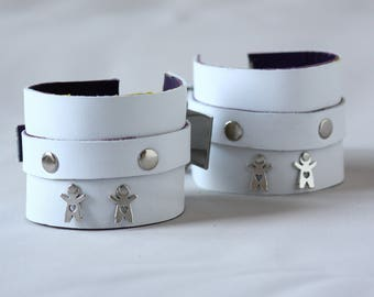 Leather Handcuffs White