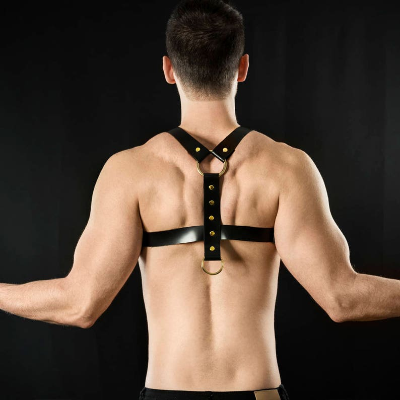 Black Leather Harness for men with Golden rings