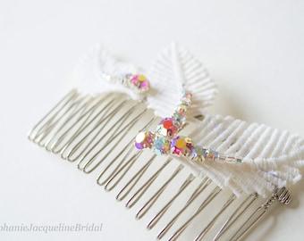 Sample Sale / Pink Embellished Leaf Bridal Hair Comb / Romantic Bohemian Bridesmaid Headpiece / Woodland Wedding Accessories