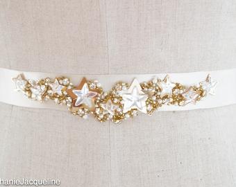 Encrusted Gold Star Wedding Belt / Hand Embellished Celestial Bridal Dress Sash / Sequin Pearl Unique