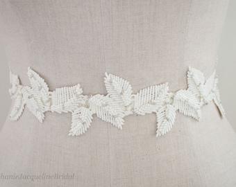 Embroidered Leaf Bridal Belt / Hand Beaded Wedding Dress Sash / Boho Bride