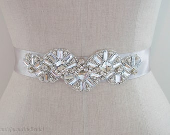 Hand Embellished Vintage Inspired Bridal Belt / Art Deco Style Wedding Dress Sash / Unique Modern Beaded Accessories