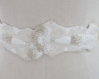 Sample Sale / Hand Embroidered Lobster Bridal Belt / Unique Wedding Dress Sash / Under The Sea Theme