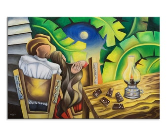 Large Canvas Print, Romance in countryside, Painting Reproduction, Cuban Art, Caribbean Art, Dominican, Puerto Rico Art, Various Sizes