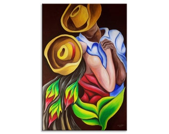 Dancers Painting Print, Stretched Canvas or Photo Paper, Various Sizes, Cuban, Caribbean, Dominican, Puerto Rico, Wall Décor, Dance, Dancing