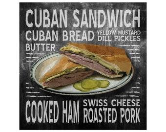 Cuban Sandwich Word Art Poster, Modern Contemporary Home Wall Decor, Print, Kitchen, Restaurant, Vintage, Subway Sign, Various Sizes, Black