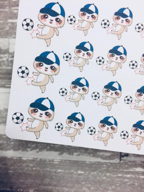 Faultier Fussball Spielen Fussball Sticker Faultier Serie Aufkleber Faultier Charakter Aufkleber Aufkleber
