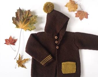 Hand Knit Baby Cardigan - Merino Wool Baby Sweater - Brown Mustard Cardigan - 6-9 Months