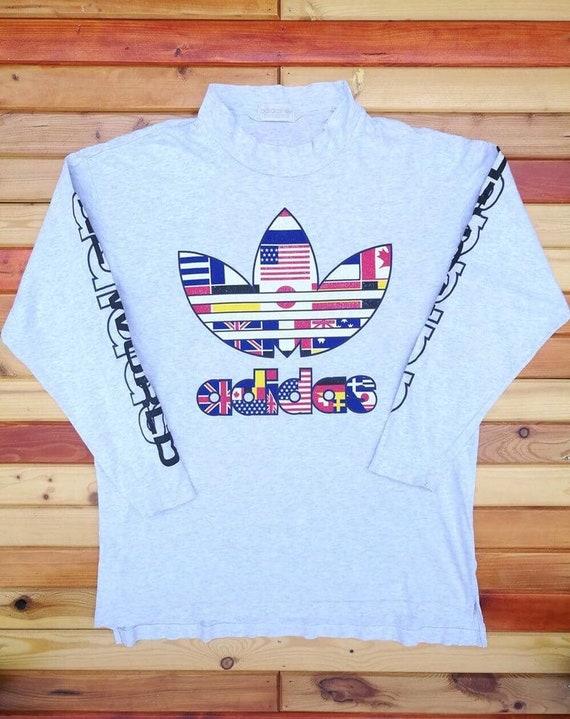 Adidas trefoil camisa multicolor de manga larga de un tamaño mundial L