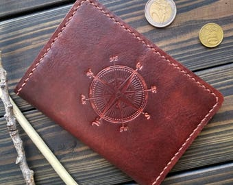 Labor Day gift Passport wallet Leather Passport cover Passport Travel case Personalized leather passport holder Father's day Compass