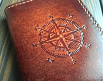 Leather passport cover Personalized passport holder with compass stamp Passport case Groomsmen Gift for Man Travel gift Passport cover women