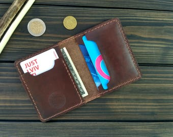 Christmas gift Leather card holder mens wallet mens gift womans wallet minimalist wallet card case small wallet bifold wallet gift for men