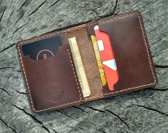 Father's Day Leather card holder mens wallet mens gift womans wallet minimalist wallet card case small wallet bifold wallet gift for men