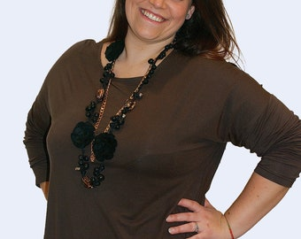 A line plus size tunic inspirational her, trendy plus size clothing for women , brown plus size top tshirt, gift ideas mom to be spring wear