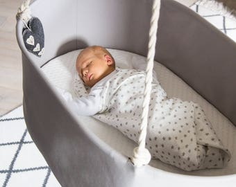 Beautiful Scandinavian Design GREY HANGING U0026 ROCKING Baby Bassinet / Cradle  / Crib. Urban Yet Classic.Natural, Safe, Sturdy.Nursery Interior