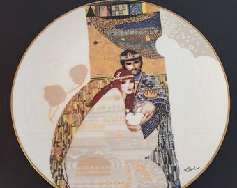 Vintage Bathsheba and Solomon, Biblical Mothers Series Collector Plate by Eve Licea, Edwin M. Knowles Fine China, 1983, Fine China & Stand