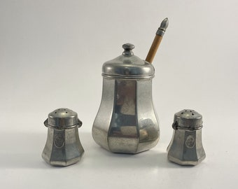 Old and rare service salt, pepper and tin moutardier of the manor paris France 1980