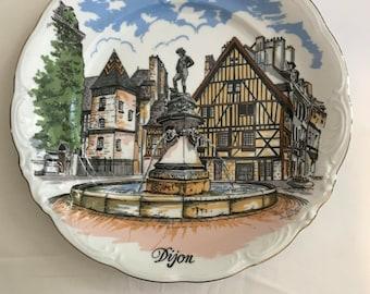 The city of Dijon porcelain decorative plate