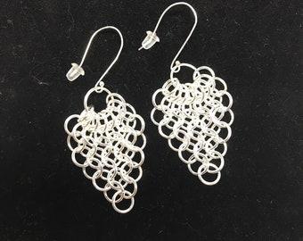 Haleakala Flow Earrings Handwoven Argentium 999 Silver Heirloom Chainmaille Earrings