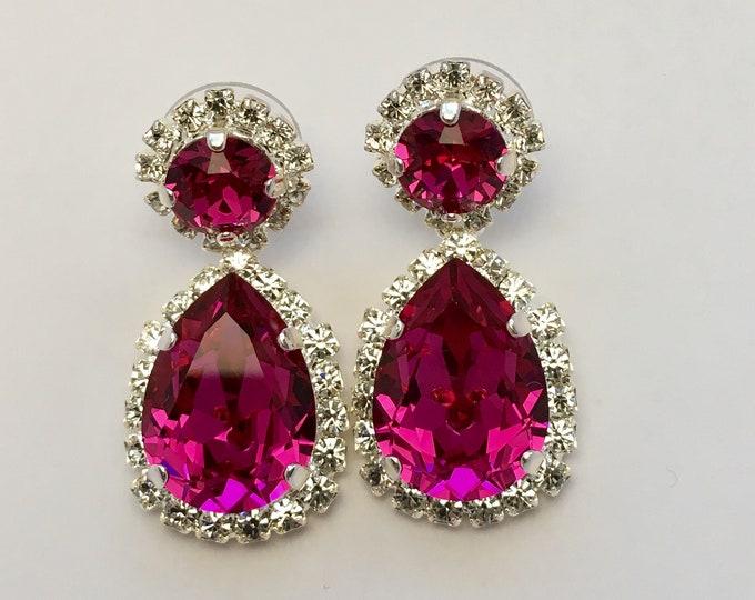 63e2cb70acfd7f Fuchsia ~ Diamond Crown Pear Cut Drop Earrings ft Swarovski Crystal