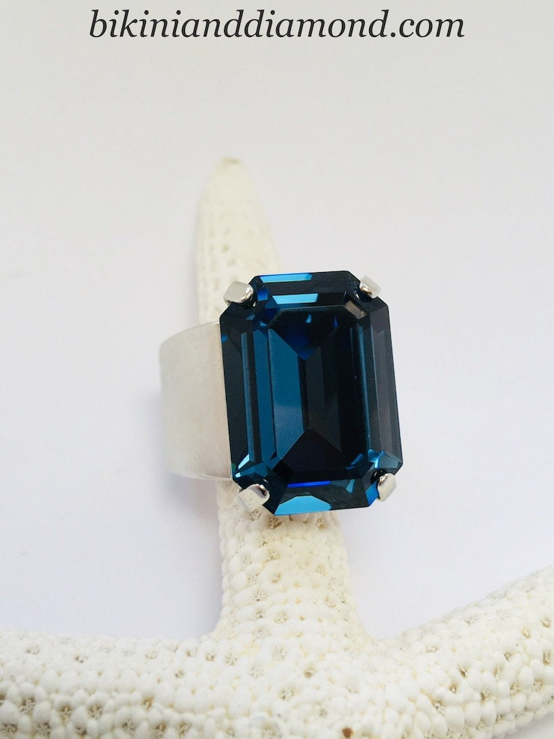 36c263c95 Soldier Blue Emerald Cut Solitaire Statement Ring featuring | Etsy