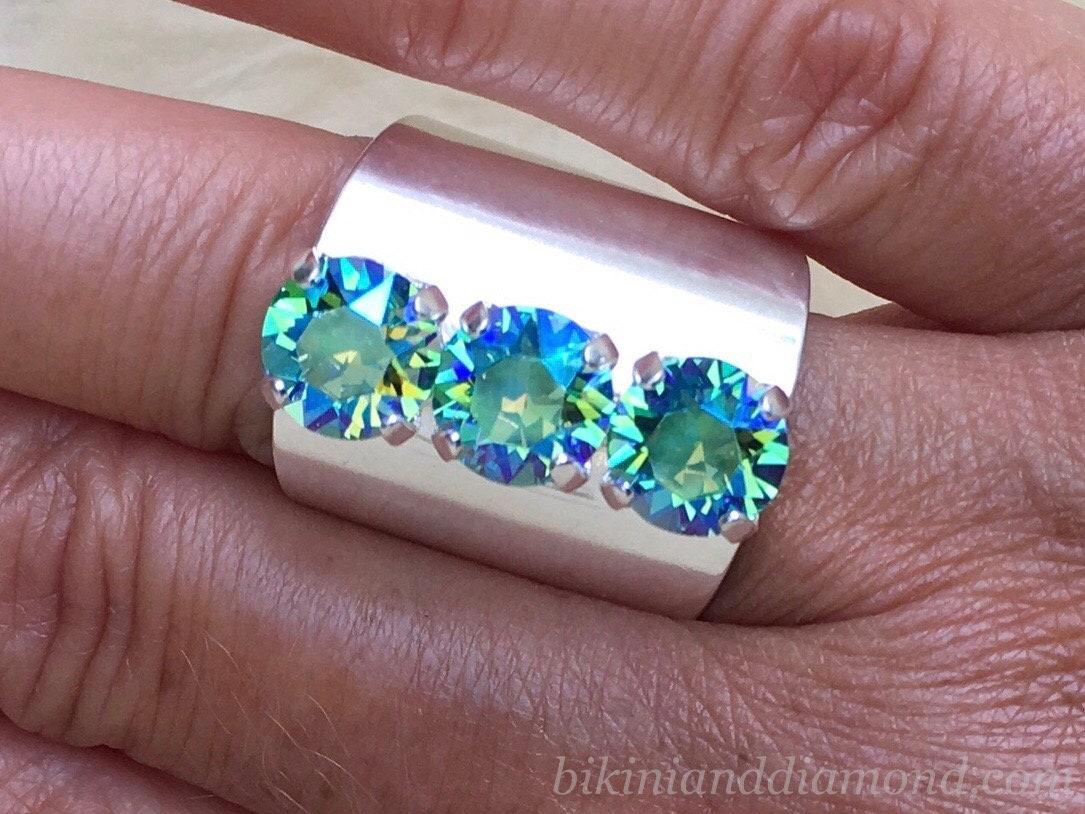 acb9c86a4cf6ea Mermaid Blue ~ 999 Silver Edgy Statement Ring featuring Swarovski Crystal