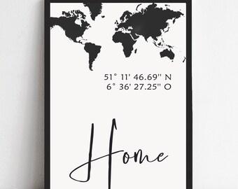 Bild Poster gps-Koordinaten Zuhause Navigation Ort Plakat Druck mit Herz mit Namen personalisiert Stadt