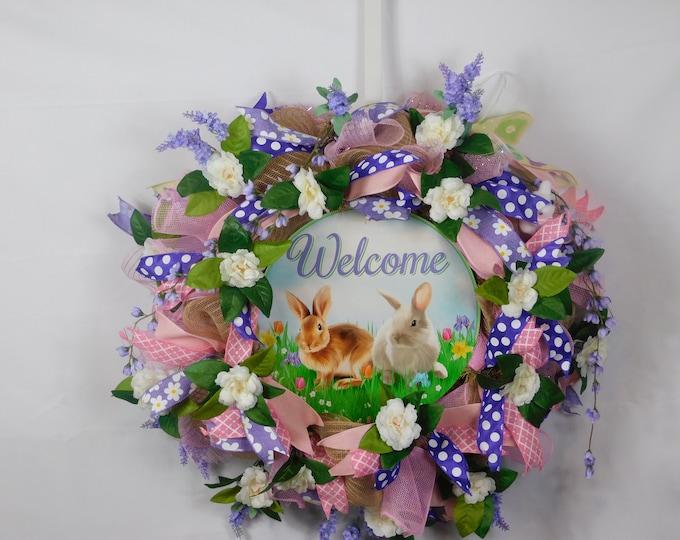 Spring Wreath, Summer Wreath, Easter Wreath, Welcome Wreath, Front Door, Back Door Wreath, Wreath, Wreaths, Everyday Occasion Wreath