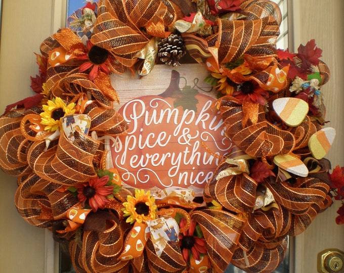 Fall  Deco Mesh Wreath, Fall Wreath, Scarecrow, Autumn Wreath , Fall Front Door Fall Wreath, Deco Mesh Wreath, Wreaths, Sunflower Wreath