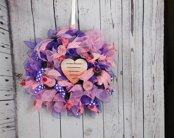 Valentines Day Wreath, Valentines Deco Mesh Wreath, Front Door Wreath, Home Decor, Back Door Wreath, Evergreen Wreath, Roses, Hydrangeas