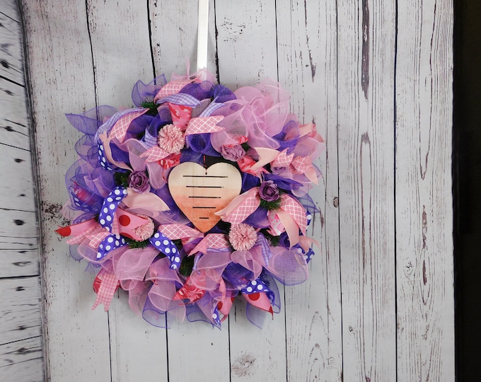 Valentines Day Wreath, Valentines Deco Mesh Wreath, Front Door Wreath, Home Decor, Back Door Wreath, Evergreen Wreath, Roses, Hydrangeas
